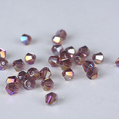 Free Shipping 100pcs 3mm Austria Crystal #5301 Bicone beads Purple red AB