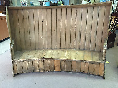 GORGEOUS LARGE ANTIQUE PRIMITIVE PINE SETTLE (English) or BENCH ca 18th C