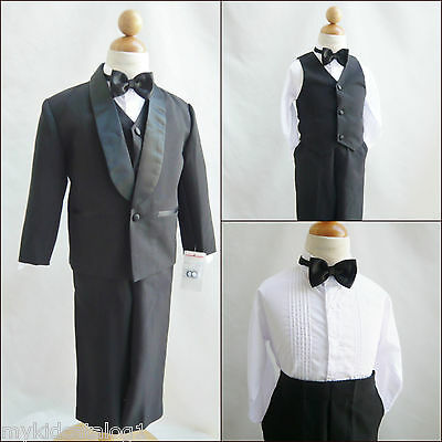 Black Boy Tuxedo Formal suit ring bearer recital wedding party 5 set all sizes