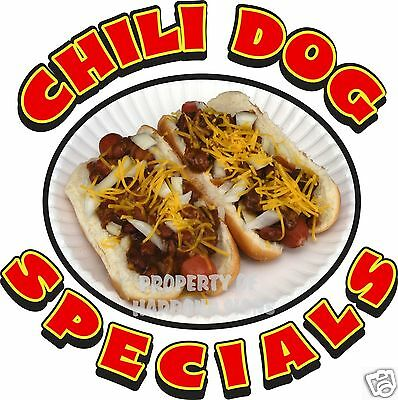 "Chili Dog Specials Decal 14"" HotDog Hot Dogs Concession Food Truck Vinyl Sticker"
