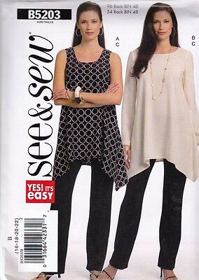 Butterick Sewing Pattern See & Sew Misses Tunic Top Pants 8 - 22 5203