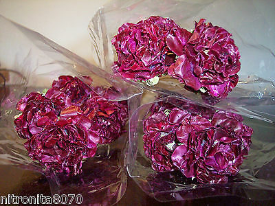 Dried Flowers 25 Handmade English Loganberry Roses W/flexible Stems Wine Color