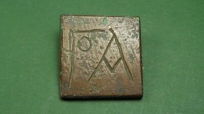 Ancient Bronze Weight With Engraved Letters Byzantine 400-600 Ad