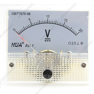 1 × DC 20V Analog Panel Volt Voltage Meter Voltmeter Gauge 85C1 White 0-20V DC