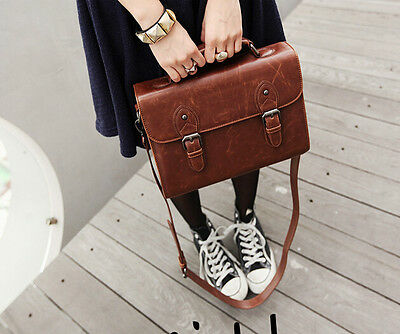 retro womens leather messenger shoulder bags korean casual briefcase bags new