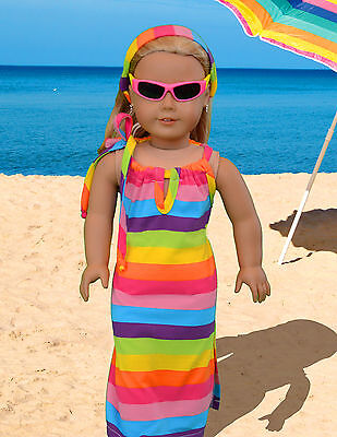 "Doll Clothes 4 pc. lot- Summer Beach Dress American Girl's Dream! fits 18"" dolls"