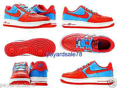 NIKE AIR FORCE 1 LOW BLUE RED AF1 '82 GS YOUTH 314192-417 SIZE 7 GODZILLA HYPER