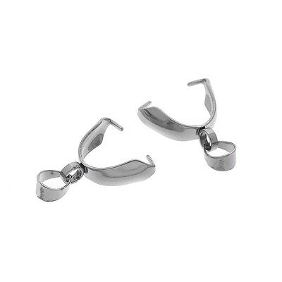 50PCs Stainless Steel Bead Clamp Pinch Bail Clip Fingdings For Jewelry DIY