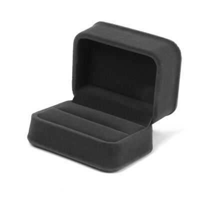 Dark Grey Velvet Double Rings Bearer Box Gift Storage Case Wedding Ceremony