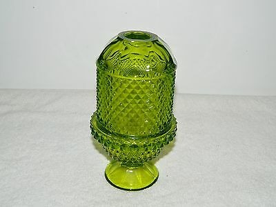 Vintage Viking Diamond Point Green Fairy Lamp Glass Hand Made 2 Parts w/Sticker