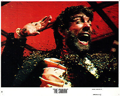 The Swarm original lobby card Richard Chamberlain covered in bees