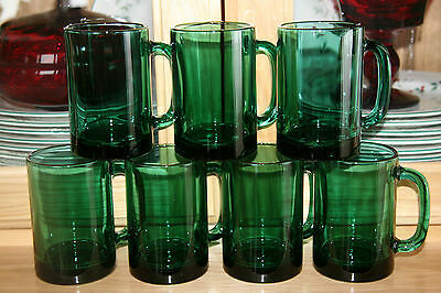 Set of 7 Libbey?? Juniper Green Mugs with Gold Trim