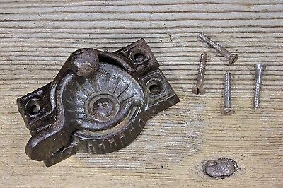 Window Sash Lock Latch old antique 1800's fancy vintage screws clean cast iron
