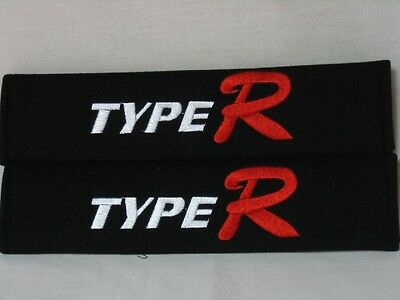 Embroidery Cool Black Seat Belt Cover Shoulder Pads Pair Type R Logo
