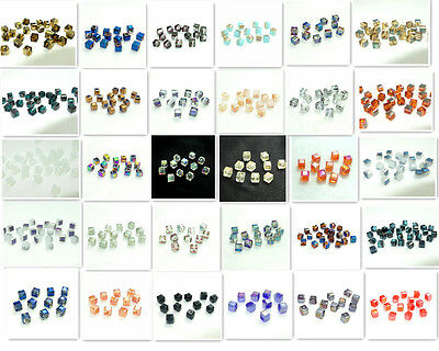 100pcs cube crystal glass loose 4mm beads 50 Colors new