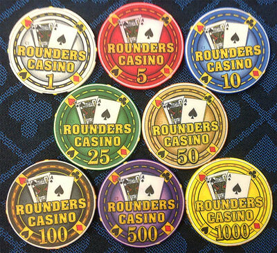 ROUNDERS Casino Fantasy POKER CHIPS Collector SET of 8 Chipco  Hard To Find