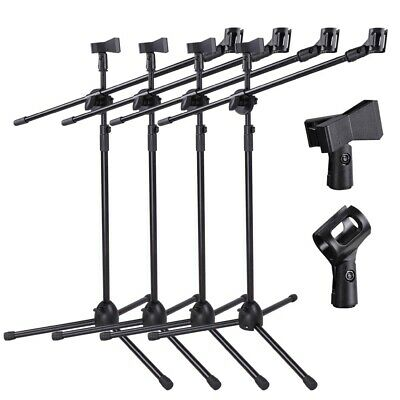4pcs 360-degree Rotating Microphone Stand Dual Mic Clip Boom Arm Foldable Tripod