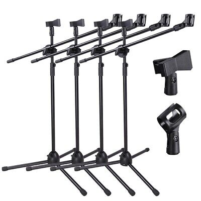 4pcs 90-degree Rotating Microphone Stand Dual Mic Clip Boom Arm Foldable Tripod