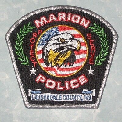 """Marion Police Patch - Lauderdale County, Mississippi - 4 1/8"""" x 3 3/4"""""""