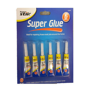 6 Pack Super Glue 1.8G Extra Strong Plastic Glass Wood Ruber Metal Adhesive Bond