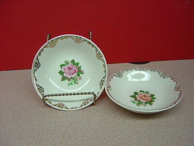 Paden City Pottery AMERICAN ROSE 22 Kt. Gold Two Fruit/Dessert Bowls 5 1/8""
