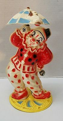 Vintage Key Wind Plastic Clown with Spinning Umbrella with Dog Holding on & Bell