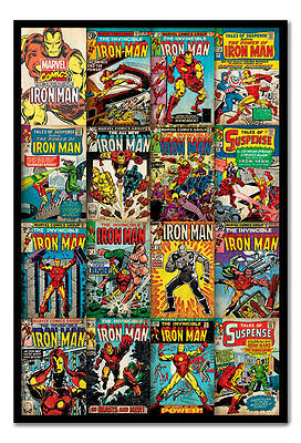Framed Iron Man Marvel Comic Covers Poster New