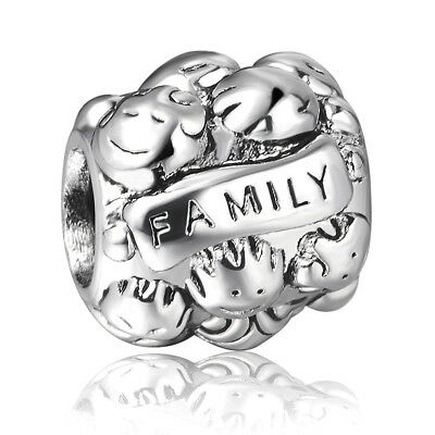 925 Sterling Silver Handcrafted Family European Bead Charms For Bracelet Bangle