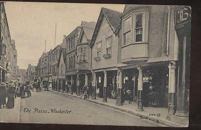 Postcard Winchester, England The Piazza Storefronts 1907?