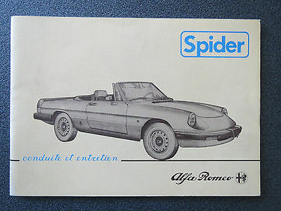 Alfa Romeo Spider 1.6 / 2.0  Instruction Book  3/1983 (FRENCH)