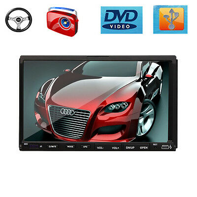 """Double 2 Din 7"""" In dash Car Stereo Radio CD DVD Player FM Steering Wheel Control"""