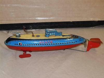 Vintage Tin toy Wind Up Skate 571 Military Red & Blue Boat Ship SAN Japan 60's