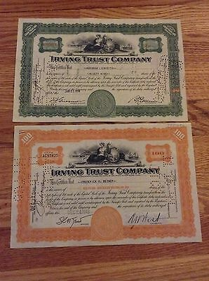 Irving Trust Company Stock 2 Certificate Lot Share 1934/1948