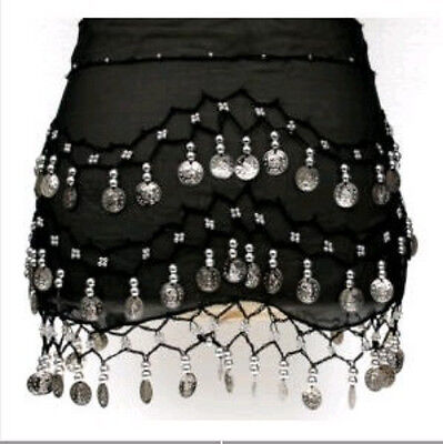 Black 3 Rows Belly Dance Hip Skirt Scarf Wrap Belt Hipscarf with Silver Coins