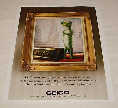 2010 GEICO GECKO ad page ~ Celebrating Over 70 Years