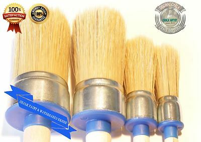 #BB4a CHALK based PAINT & emulsions set of 4 round BRUSHES 20,25,40,45mm