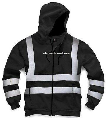 New Mens Hi High Viz Vest Hoodie Zip Hooded Top Jacket Work Security BLACK S-3XL
