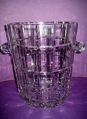 Ice Bucket Gallon Size Heavy Lead Crystal Clear Beveled Rectangles Poland