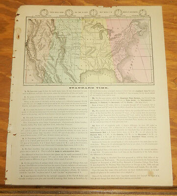1885 Warren Antique COLOR Map///STANDARD TIME ZONES IN THE UNITED STATES