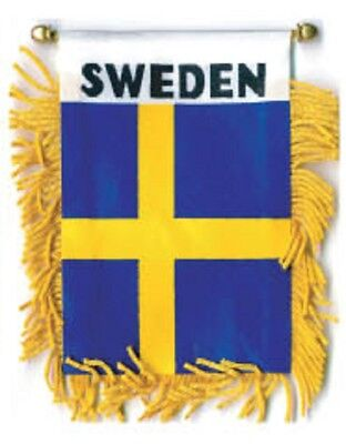 """Sweden Mini Flag 4/""""x6/"""" Window Banner w// suction cup"""