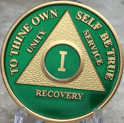 Green & Gold Plated One Year AA Chip Alcoholics Anonymous Medallion Coin 1