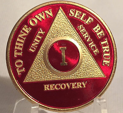 Red & Gold Plated One Year AA Chip Alcoholics Anonymous Medallion Coin 1