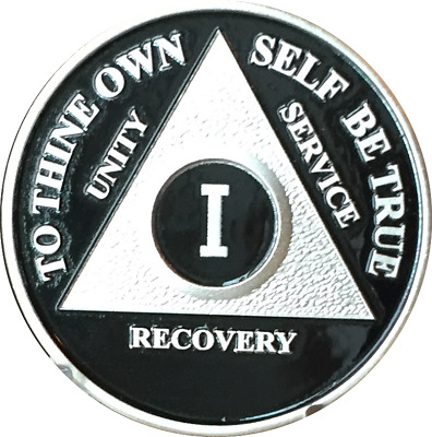 Black & Silver Plated 1 Year AA Chip Alcoholics Anonymous Medallion Coin One
