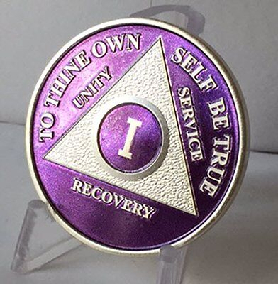 Purple & Silver Plated 1 Year AA Chip Alcoholics Anonymous Medallion Coin One