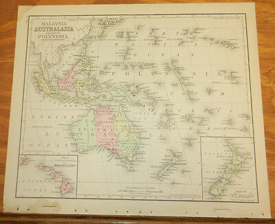 1885 Warren Antique COLOR Map///AUSTRALIA, MALAYSIA, POLYNESIA, NEW ZEALAND