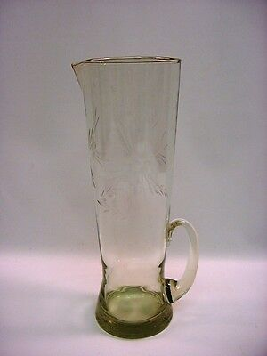 "Antique Hand Blown Cut Clear Glass Tall Pitcher 12"" Punch Beverage"