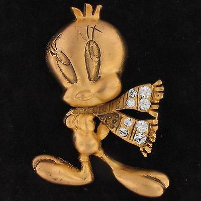 PIN Tweety Bird LOONEY TUNES SWAROVSKI ELEMENTS  Gold JEWEL 4589