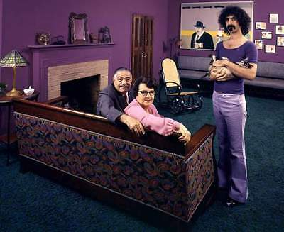 FRANK ZAPPA w/ father & mother & cat vintage 1970 8x10 photo Los Angeles picture
