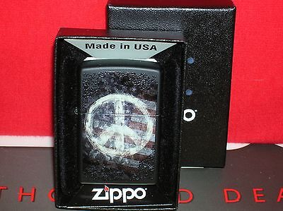 """New Zippo """"peace On Flag"""" Black Matte Lighter-#28864-We Ship Fast-Save $$ Here!!"""