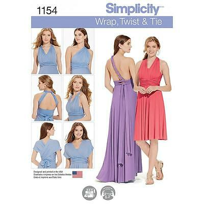 Simplicity Sewing Pattern Misses' Knit Wrap & Tie Dress In 2 Lengths 1154 A